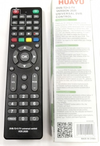 Пульт ДУ универсальный HUAYU для ресиверов DVB-T2+3-TV (версия 2020г. корпус Lumax B0302)