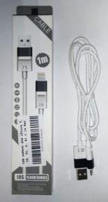 USB кабель для iPhone 5, 5S, 5C, 6, 6+ с 1м белый в оплетке
