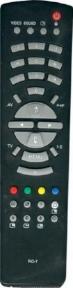 Пульт RC-7 черный для телевизора RUBIN