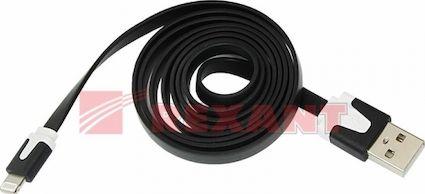 USB кабель Rexant для iPhone 5, 5S, 5C, 6, 6+,7 плоский черный