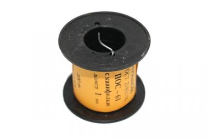Припой ПОС-61 д.1,0 мм с канифолью катушка 100 гр