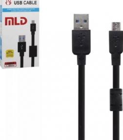 Кабель USB-microUSB, 1,5 м, USB 2,1A, с фильтром черный